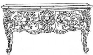 Комод с четырьмя ящиками, отделанный накладной бронзой
